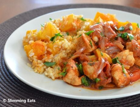 Balsamic Chicken with Tomatoes and Roasted Butternut Squash Rice | Slimming Eats - Slimming World Recipes