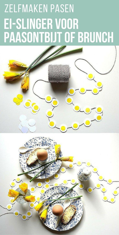 Een ei hoort er bij! Maak samen met de kinderen voor Pasen deze vrolijke paasslinger voor het paasontbijt of paasbrunch.