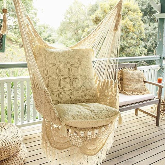 Hanging Chair Sitting Hammock Porch Swing With Macrame Fringe Off White  Organic Cotton Indoor/