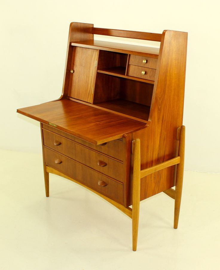 Danish modern teak secretary designed by poul volther for Furniture 0 interest financing