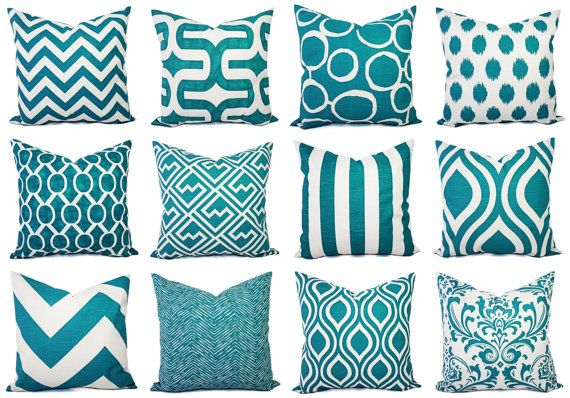 Turquoise Pillow Covers! Set of two turquoise blue and white decorative pillow covers in a geometric pattern. These throw pillow covers fit any