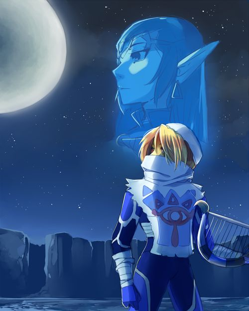 Princess Zelda / Sheik artwork inspired by Super Smash Bros. Melee movie intro (…
