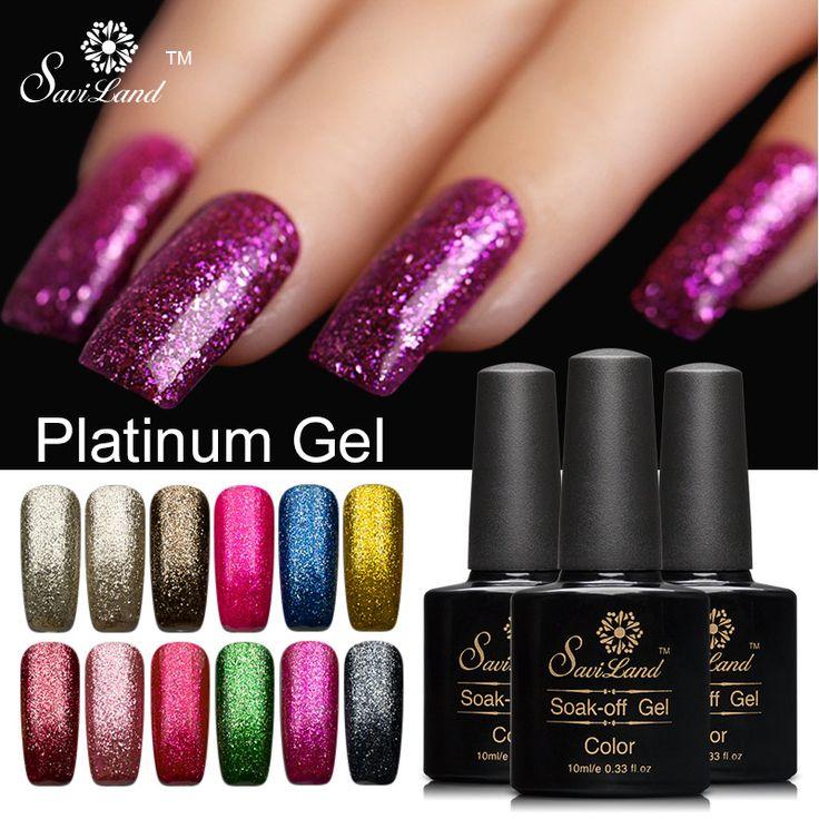 saviland 1pcs 10ml 3d glitter platinum uv led gel nail polish semi permanent colorful shining soak - Coloration Rose Permanente