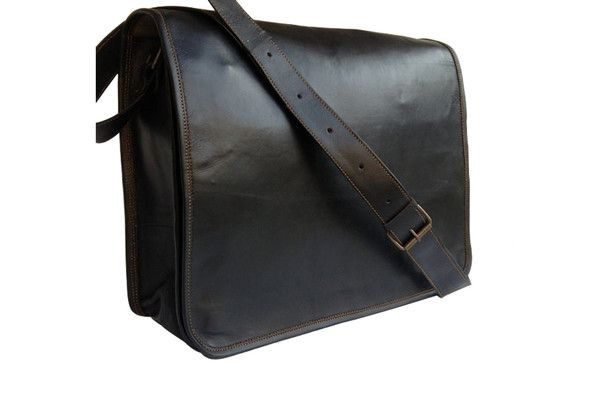 Black Leather Formal Messenger Bag made of handmade genuine leather. #Genuine #leather #Messenger