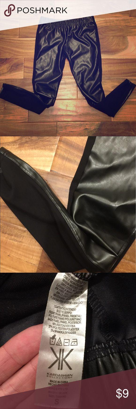Kardashian Kollection black faux leather leggings Kardashian Kollection black faux leather leggings. Super cute, very comfy in EUC. Kardashian Kollection Pants Leggings