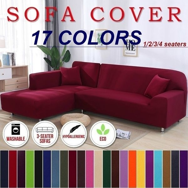 Fashion 17 Solid Colors Slipcovers Home Living Sofa Cover 1 2 3 4 Seats L Shape Recliner Protector Cover Set Wish In 2020 Sofa Covers Single Seater Sofa Eco Sofa