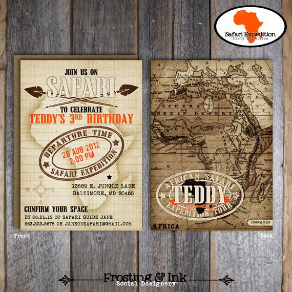 Safari Party - Invitation & Wrap Around Address Labels - Printable (Jungle, Wild Animal, Zoo, African, Adventure, Expedition, Vintage)