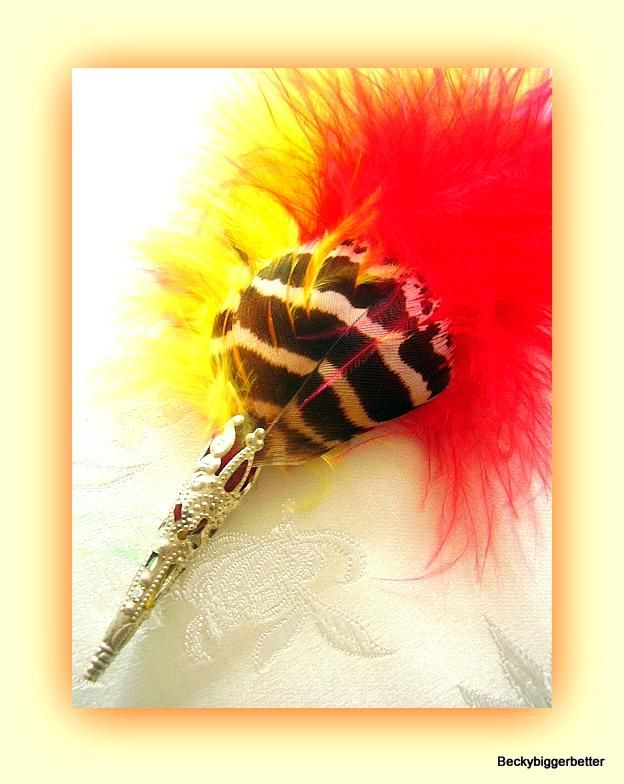 Pheasant Feather hat pin brooche Red Yellow Black Rooster Fascinator stick pin