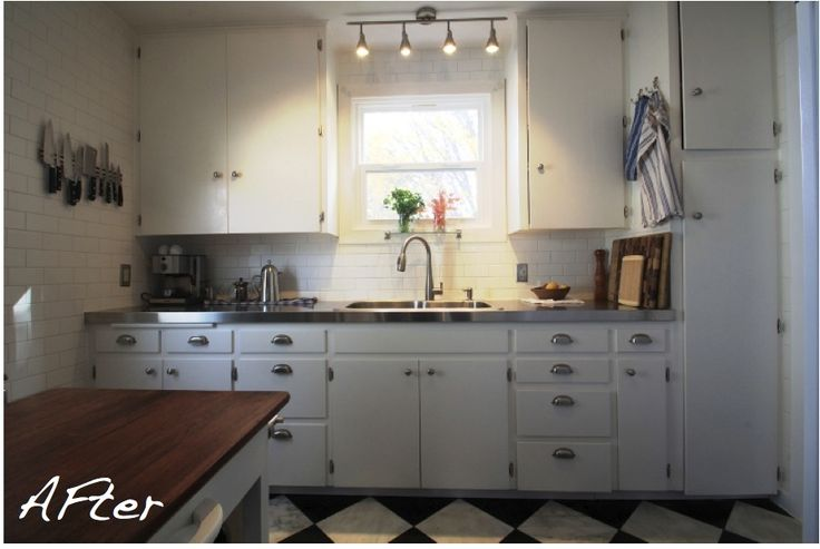 Tiny Kitchen Renovation | Small Kitchen Renovation Makes Big Impact | HomeJelly. Love the white subway tiles, stainless steel counter tops, and checkerboard flooring