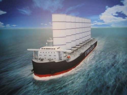 Merchant Vessel On Sails Saves Fuel | Futuristic Ship, Alternative Energy, Wind Challenger, Green Future, Watercraft