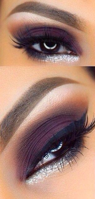 Purple eye look, winged liner with under highlighting.