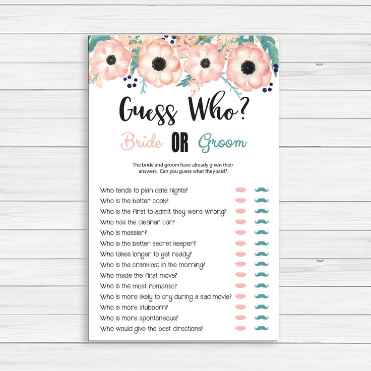 Guess Who Bridal Shower Game Wedding Shower Games Engagement | Etsy