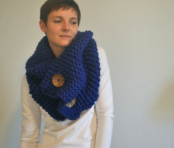 chunky oversize cowl shawl capelet with natural coconut buttons - the anouk - cobalt. $70.00, via Etsy.