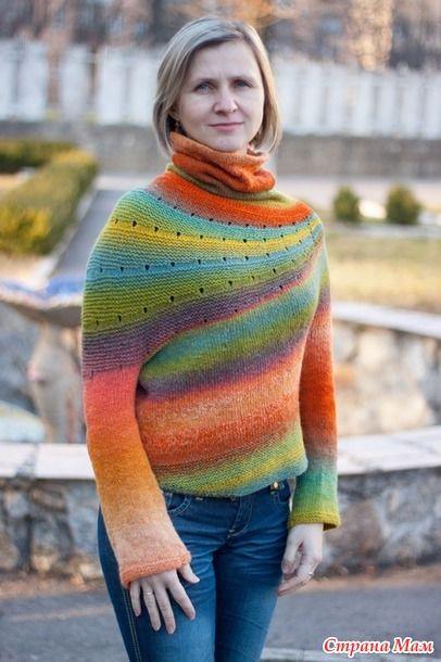 """Из двух пасм дундаги 6/2 получился яркий свитер """"Радуга"""" Описания нашла много, в том числе и в Стране мам(http://www.stranamam.ru/  но пользовалась вот этим"""