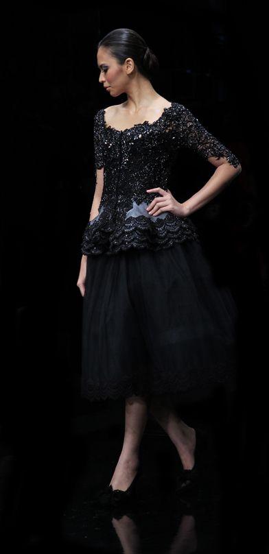 Dazzling black kebaya dress