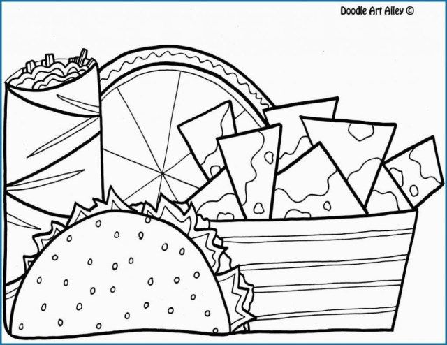 Wonderful Image Of Taco Coloring Page Food Coloring Pages