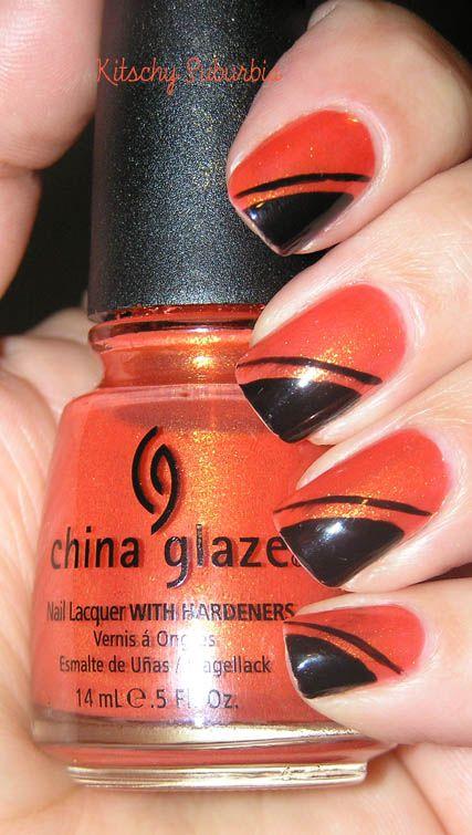 Orange Nail Art Design.
