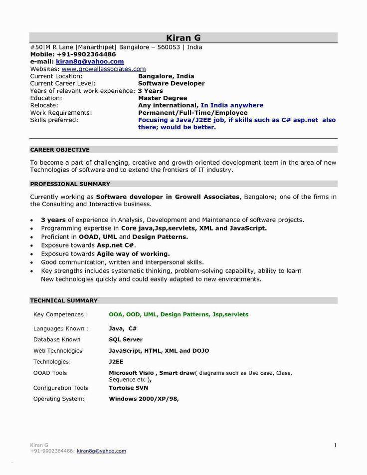 Experience Resume Format For Xml Developer Resume Format
