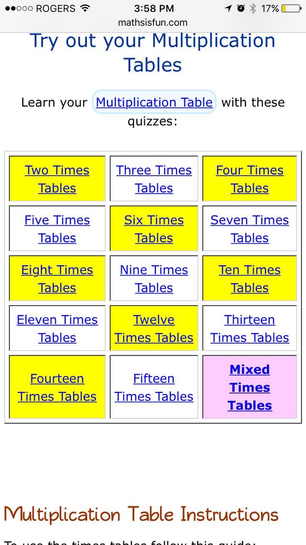 Multiplication table drills