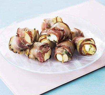 Halloumi & bacon rolls. Impress your friends with these tasty gluten-free nibbles - ideal finger food for a buffet