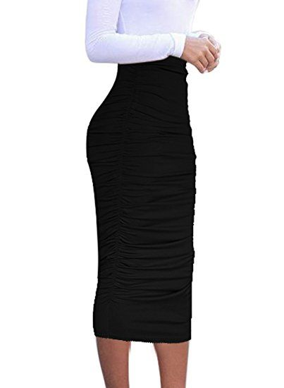 755177fb3 VfEmage Womens Elegant Ruched Frill Ruffle High Waist Pencil Mid-Calf Skirt  [Amazon.com]. Find this Pin and more on Women - Skirts ...
