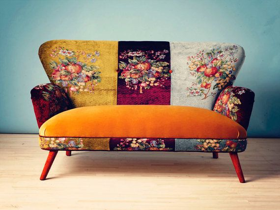 Gobelin Sofa-sweet honey. Handmade two seats sofa upholstered with best quality gobelin style and velvet fabrics mix by Istanbul's namedesignstudio. via Etsy