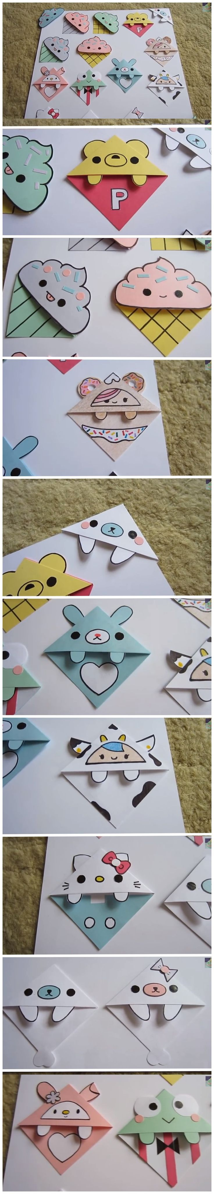 Corner Bookmark Collection (idea) | For more DIY paper craft ideas, visit our Pinterest Board: https://www.pinterest.com/makerskit/papercraft-diy-ideas/ Más