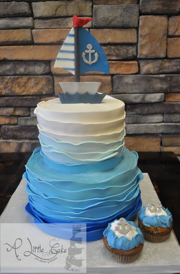 Boat theme first birthday cake