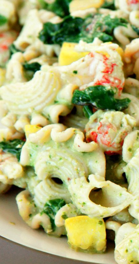 Garlic Chive Pesto Pasta with Langostino Lobster Recipe