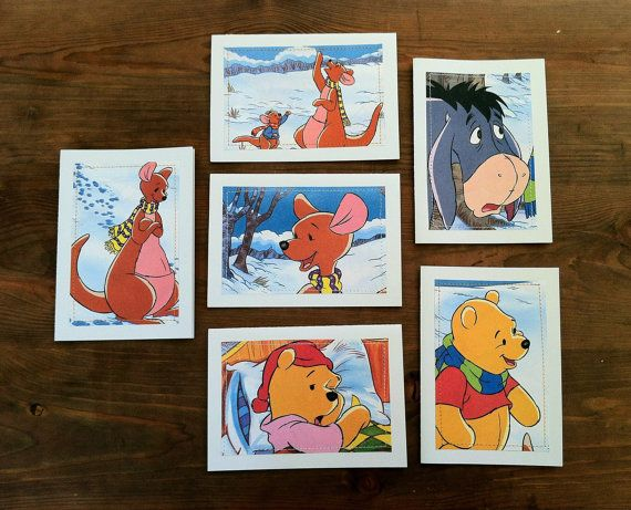 Winnie the Pooh  Greeting Cards set of 6  Cozy Beds book cutouts by MagpieSailor