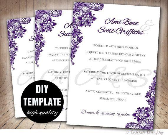 Lace Purple Wedding Invitation DIYAubergine Wedding by paperfull