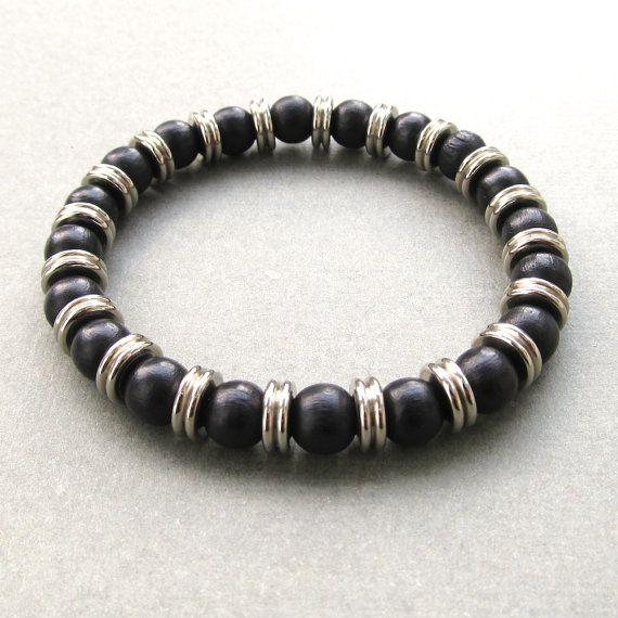 Mens black wood and metal washer beaded stretch bracelet by lowusu, $28.00