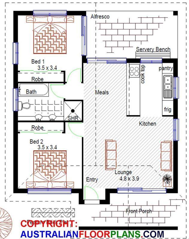 Diseño:73 -2 Cama Abuela Plana-Pequeño home-2 Cama-planes de construcción + archivos CAD