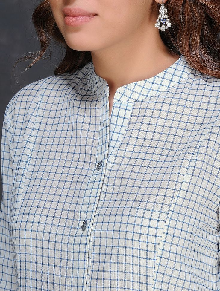 Buy Ivory Blue Checkered Handloom Cotton Kurta by Jaypore Women Kurtas Dialogues Handwoven dresses and pants Online at Jaypore.com