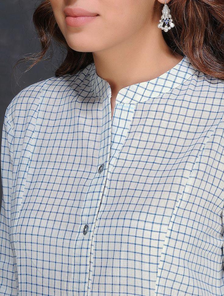 Buy Ivory Blue Checkered Handloom Cotton Kurta by Jaypore Women Kurtas Dialogues Handwoven dresses and pants Online at Jaypore.com