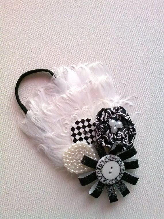 Fancy black and white feather, bottom, pearls and ribbon rose elastic headband