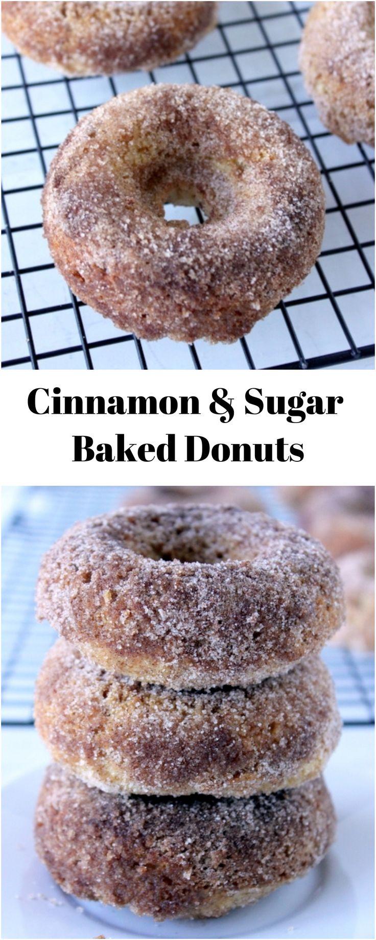 Cinnamon & Sugar Baked Donuts #donuts #cinnamon #breakfast