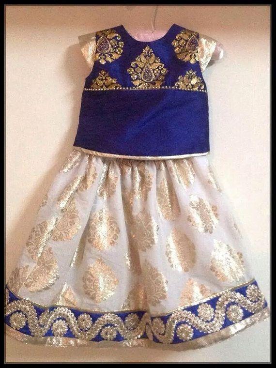 Etsy listing at https://www.etsy.com/listing/189304825/girls-navy-blue-and-white-lehenga
