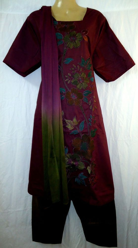 "PURE COTTON Salwar Kameez NEW Dress   Sm 747 Magenta Henna BUST 48"" #0119M"