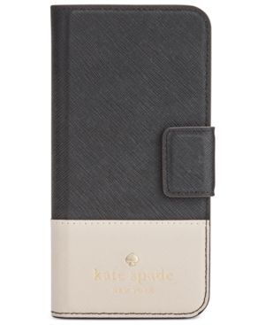 kate spade new york Leather Wrap iPhone 7 Folio Case - Black