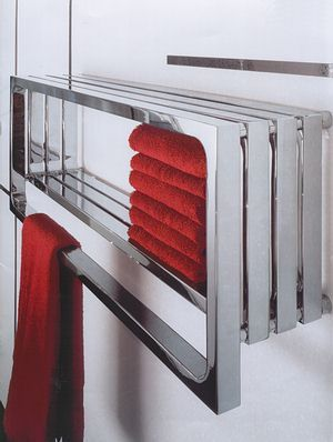 This towel warmer is from Monte Carlo at Designer Radiators. Shiny chrome gives it a very modern look. Towel warmers are becoming more and more popular with luxury home...