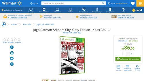 [Wal-Mart] Jogo Batman Arkham City: Goty Edition - Xbox 360 2972505 - de R$ 137,32 por R$ 86,00 (37% de desconto)
