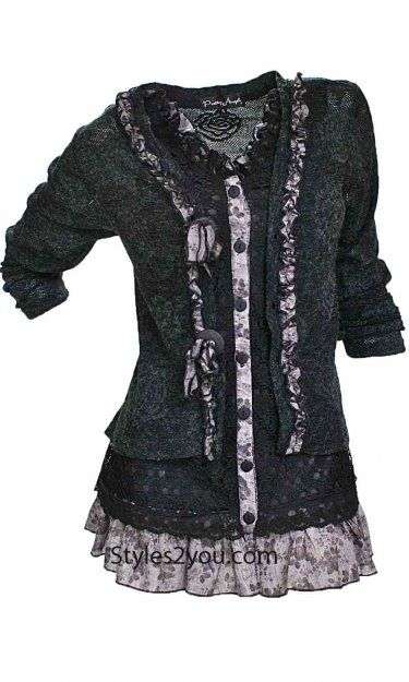 JUST IN... HURRY AND GET YOURS...Pretty Angel Clothing Layered Victorian Tunic In Black, Brown or Turquoise at Styles2you.com