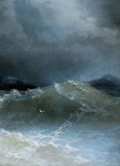 She is still drawn to seascapes ///Ivan Aivazovsky, Waves (detail), 1849 - Ivan Aivazovsky (1817 – 1900) was a Russian-Armenian painter https://en.wikipedia.org/wiki/Ivan_Aivazovsky