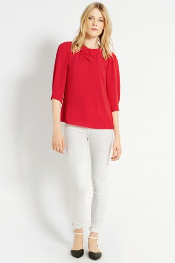 Pleat Collar Long Sleeve Top