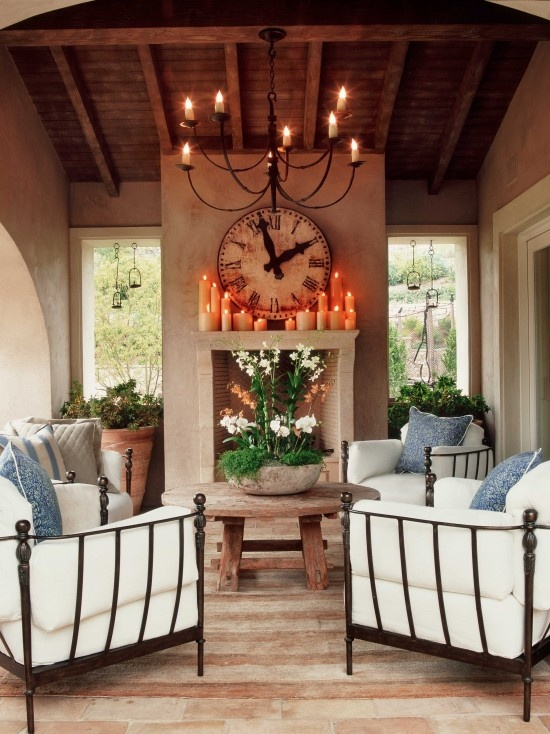 Outdoor Mantle Design, blue and white and natural elements. Obviously not this mantle but you get the feel.