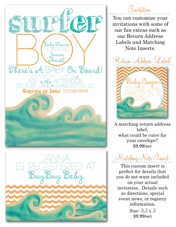 surfer baby, surf baby shower, surf baby shower invites, surf invites via Party Box Design