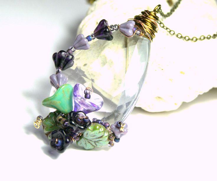 Purple Flower Vine Pendant, Crystal Pendant , Purple Pendant , Floral Pendant, Wire Wrapped Pendant, Art Pendant, Gift Ideas, Lavender Gift by LunaEssence on Etsy