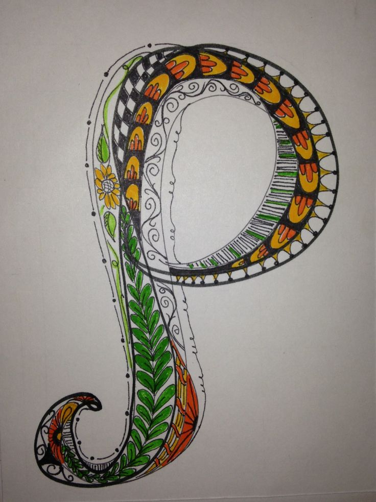 adding to my alphabet  zen tangle    doodle art  letter p