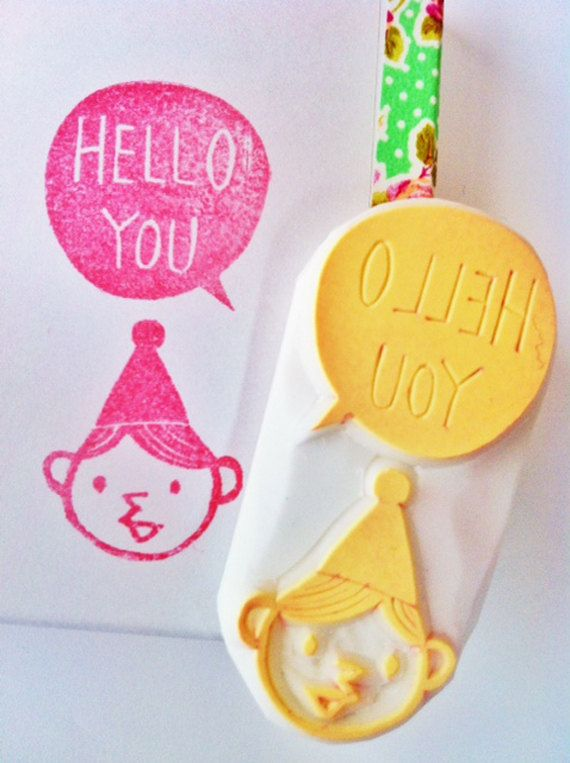SALE - hello hand carved rubber stamp. hand carved stamp. hello you. no1. ready to ship